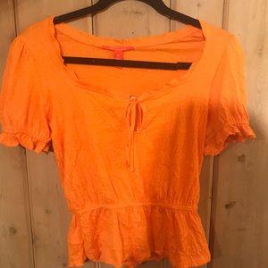 Neon orange peasant top
